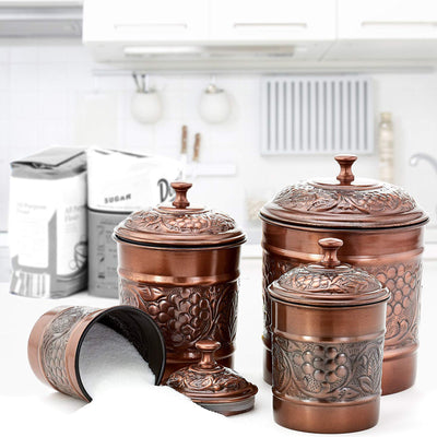 EMBOSSED CANISTERS ANTIQUE COPPER - Nusteel