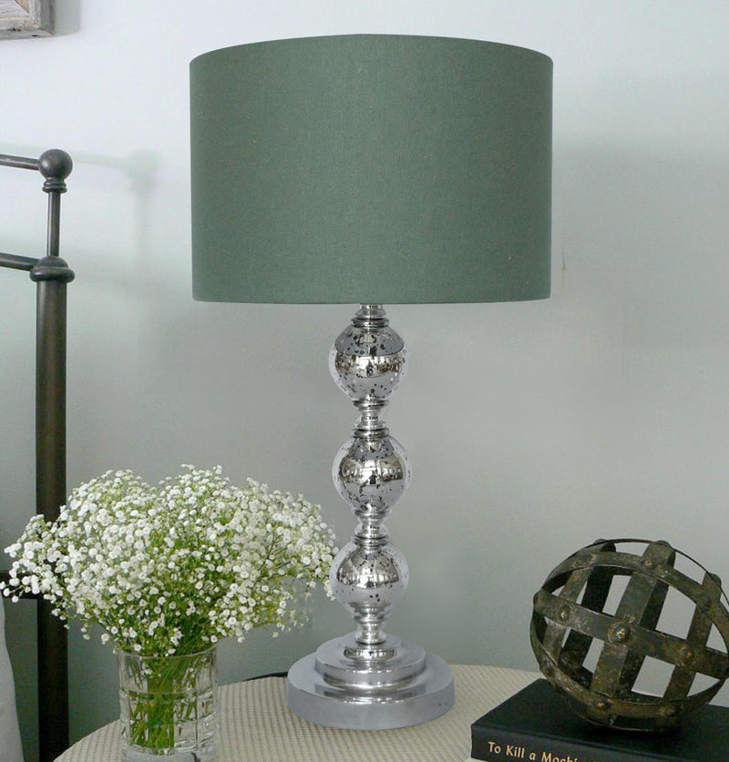 Crackle Glass Table Lamp w/shade 12in base mercury silver/gry LS-340