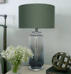 Two Tone Glass Lamp  w/shade 12in faded base silver/gry LS-341 - Nusteel