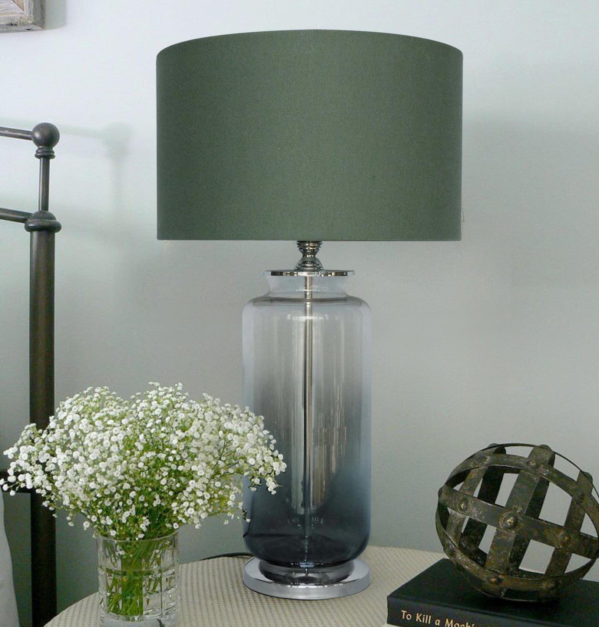 Two Tone Glass Lamp  w/shade 12in faded base silver/gry LS-341