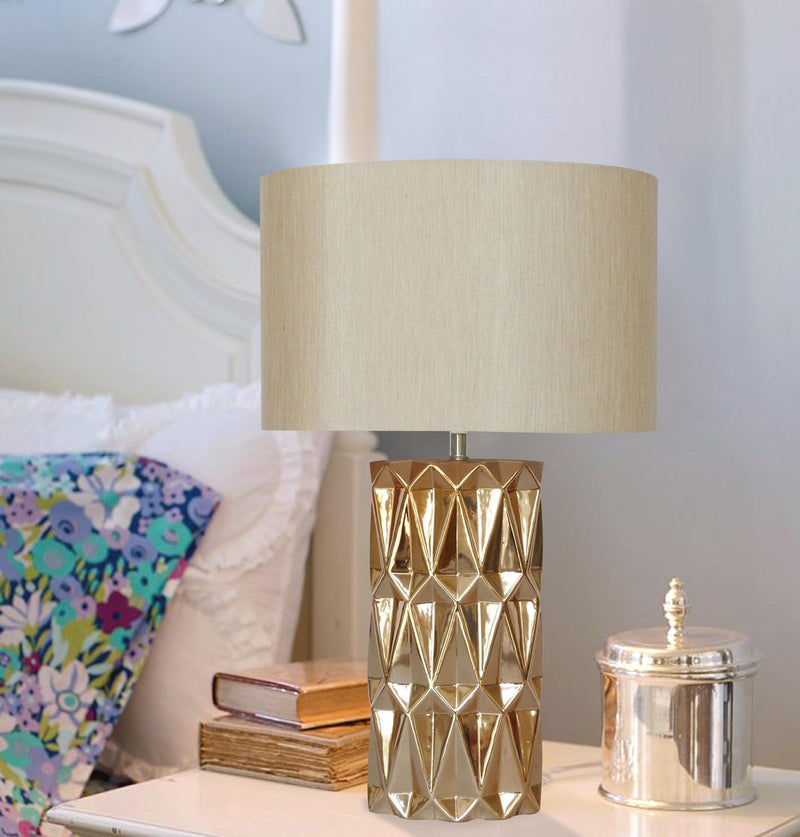 Copper Ceramic Table Lamp geo pattern w/shade 10in base LS-343