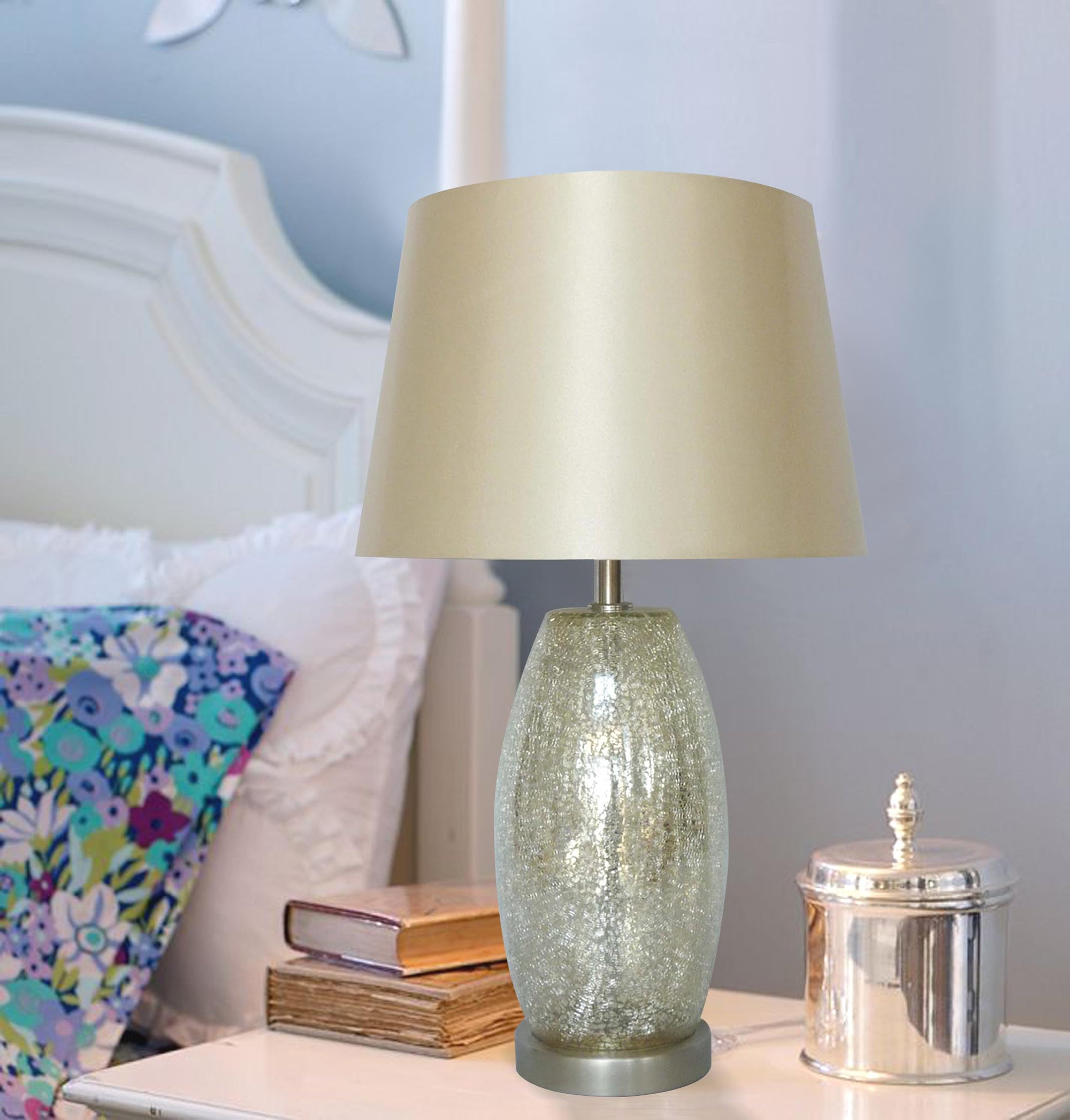 Champagne Crackled Table Lamp w/ silver mercury base 12in w/beige shade LS-348