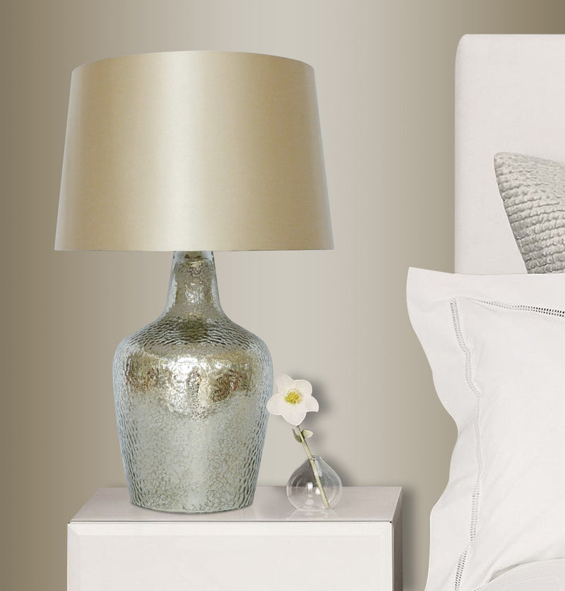 Glass Table Lamp with silver textured base 10in/ beige shade LS-349