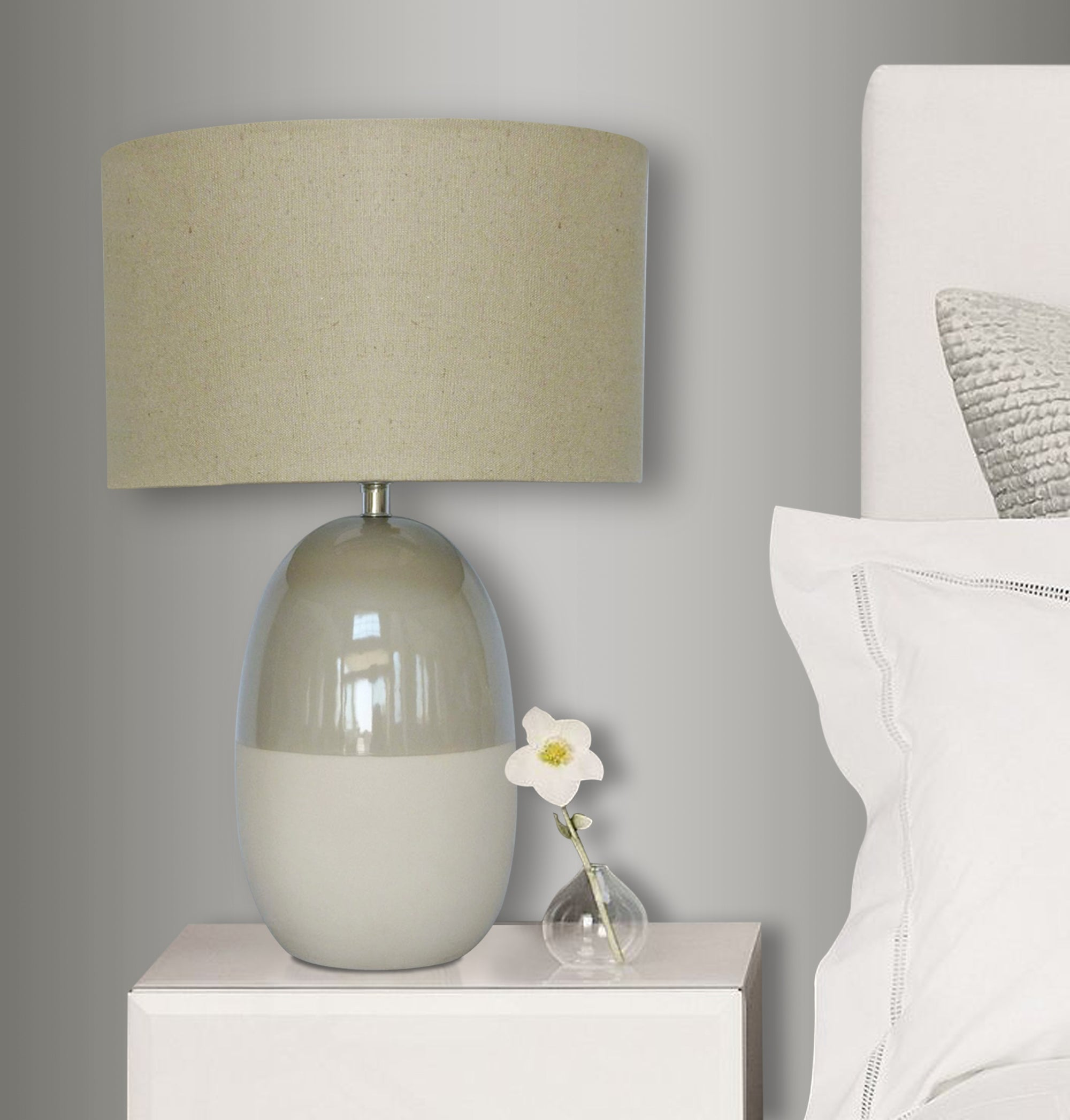 Two Tone Table Lamp  gry 10in base with gry shade LS-359