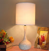 Light Wood Texture Table Lamp  11in base with linen shade LS-371 - Nusteel
