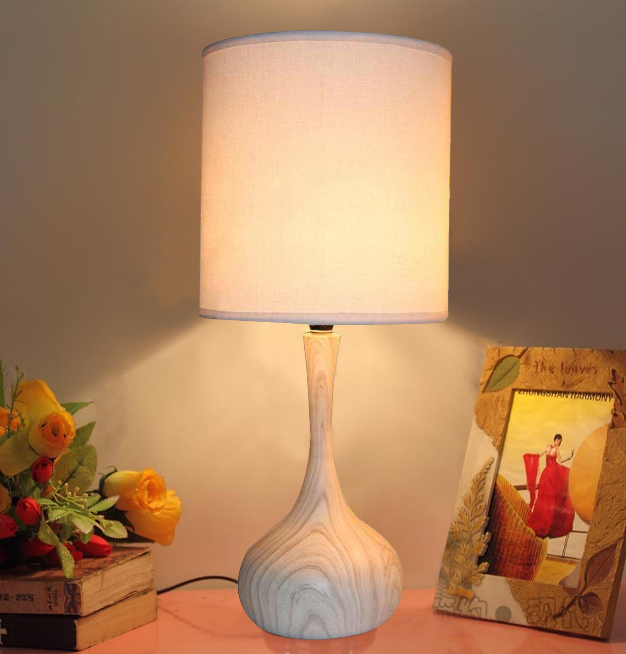 Light Wood Texture Table Lamp  11in base with linen shade LS-371