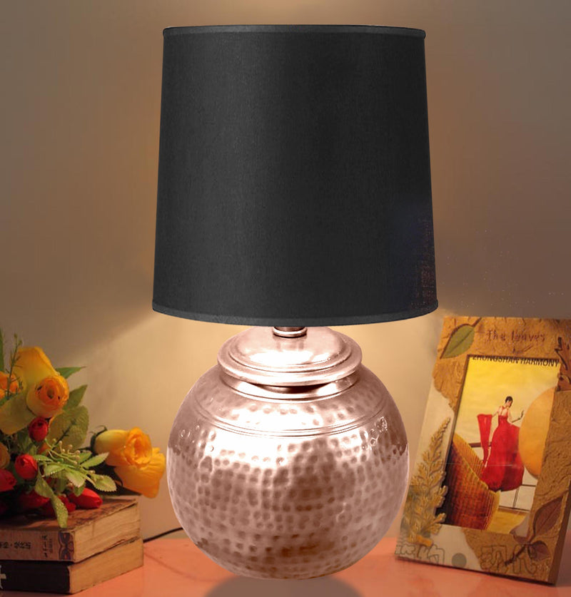 Copper Hammered textured ball base with black shade LS-378C