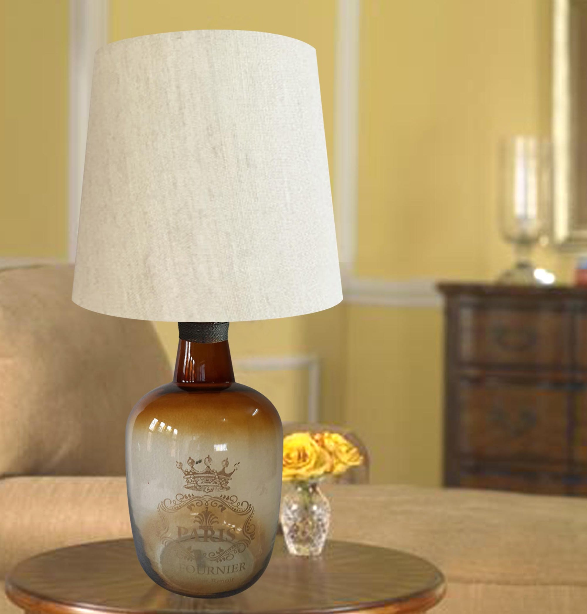 Amber Glass decorative table lamps with white shade TA002 - Nusteel