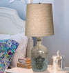 Clear Glass with dust bubbles decorative table lamps with jute shade TA003 - Nusteel