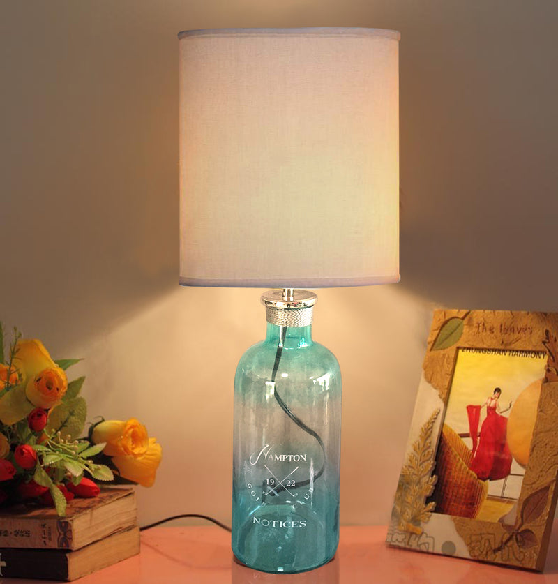 Aqua Glass decorative table lamps  with white shade TA004 - Nusteel