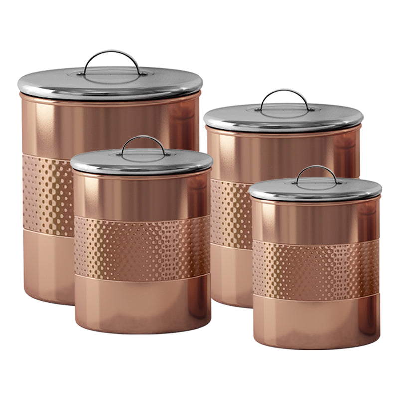 HAMMERED CANISTER SET/4 COPPER FINISH TG-CH-04C-S4 - Nusteel