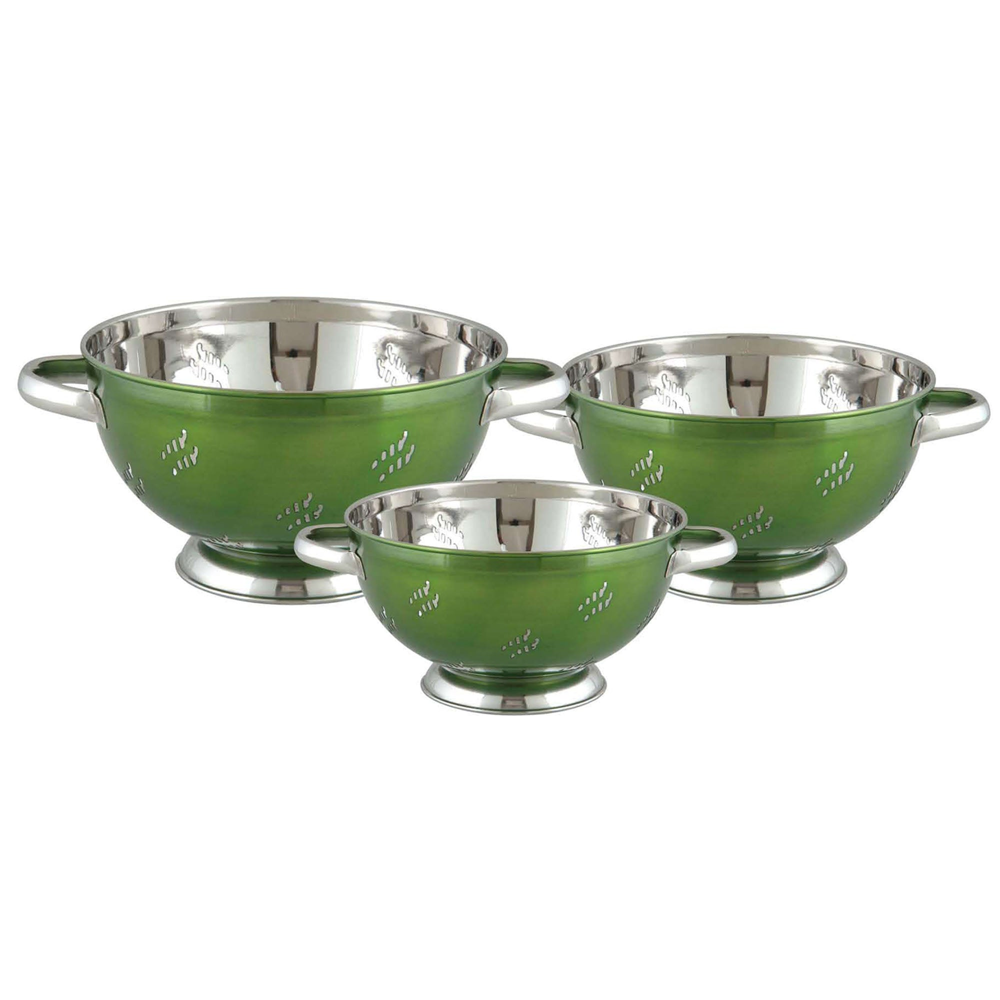 COLANDER 5 QT CHILLI STAINLESS STEEL GREEN COLOR COATING - Nusteel