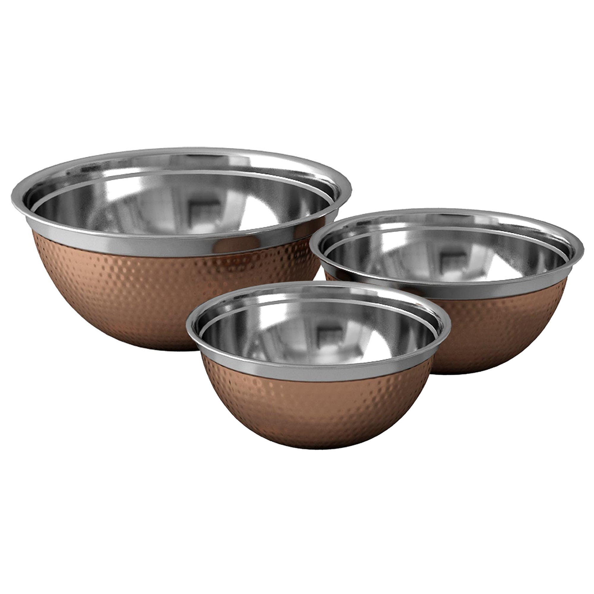 GERMAN BOWL SET/3 COPPER PLATED HAMMERED 0.5MM - 1.5QT, 3QT, 5QT TG-GB-3CH