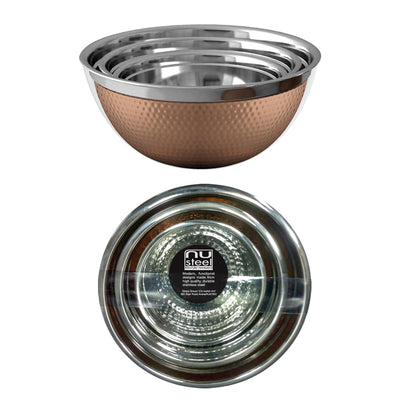 GERMAN BOWL SET/3 COPPER PLATED HAMMERED 0.5MM - 1.5QT, 3QT, 5QT TG-GB-3CH - Nusteel
