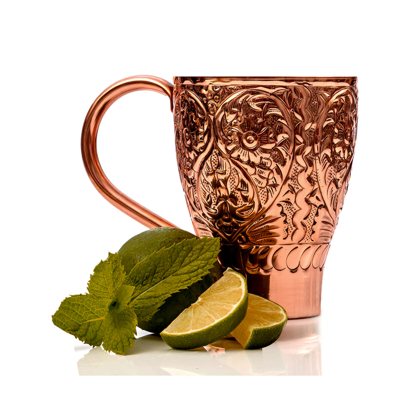 Flowr embossed mules copper antique 16 Oz TG-MM-55