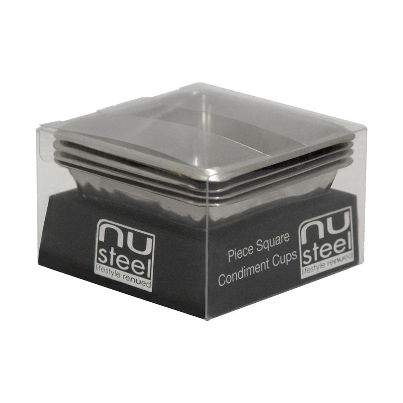 SQUARE CONDINMENT CUP SET OF 4 PCS TG-SMW-516 - Nusteel