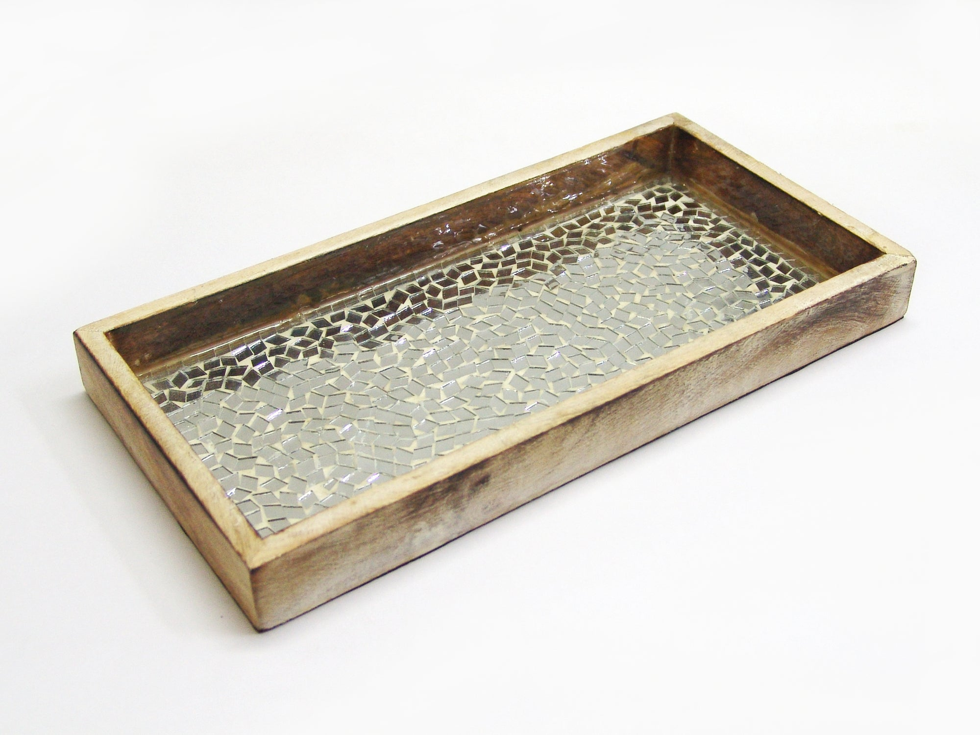 SILVER MOSAIC WOODEN TRAY TR-240 - Nusteel
