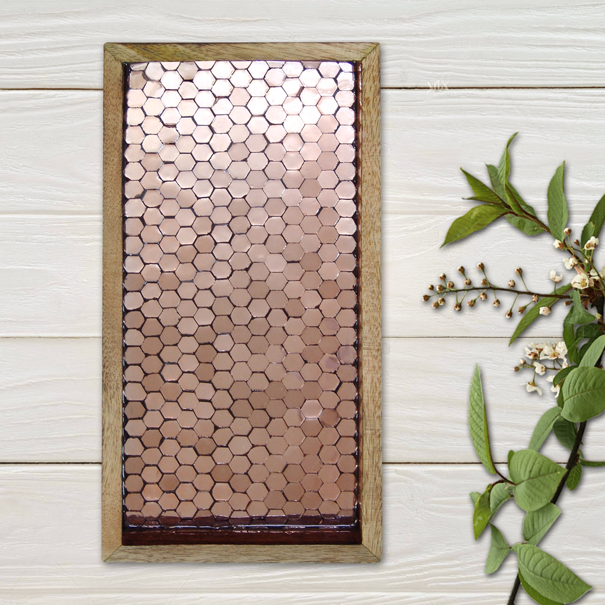 "Copper Mosaic Wooden Tray 13"" x 6.5"" TR-241L - Nusteel"