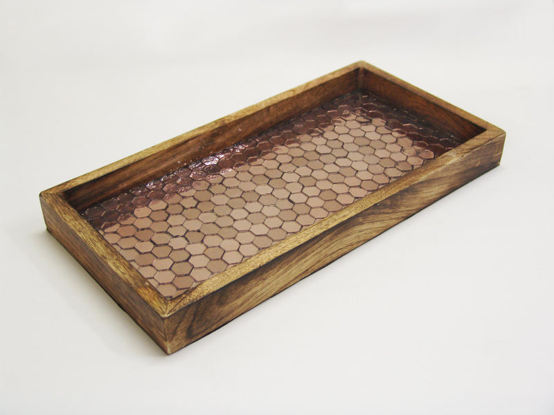 COPPER MOSAIC WOODEN TRAY TR-241 - Nusteel