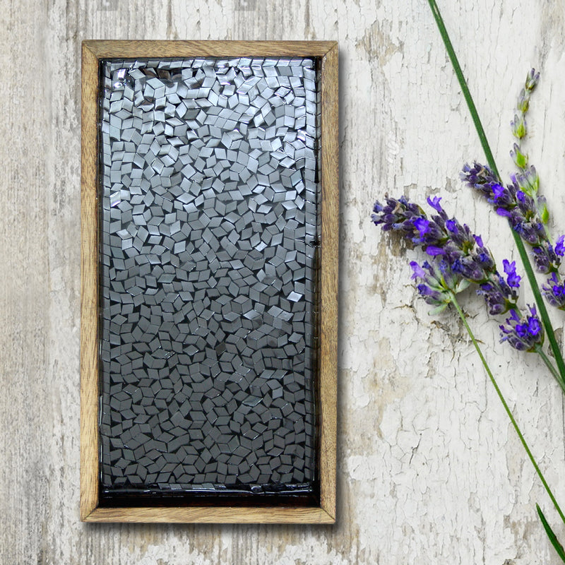 "Black Mosaic Wooden Tray 13"" x 6.5"" TR-242L - Nusteel"