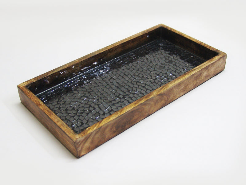 BLACK MOSAIC WOODEN TRAY TR-242 - Nusteel