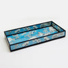 BLUE FLORAL PRINT DECORATIVE GLASS TRAY TR-243 - Nusteel