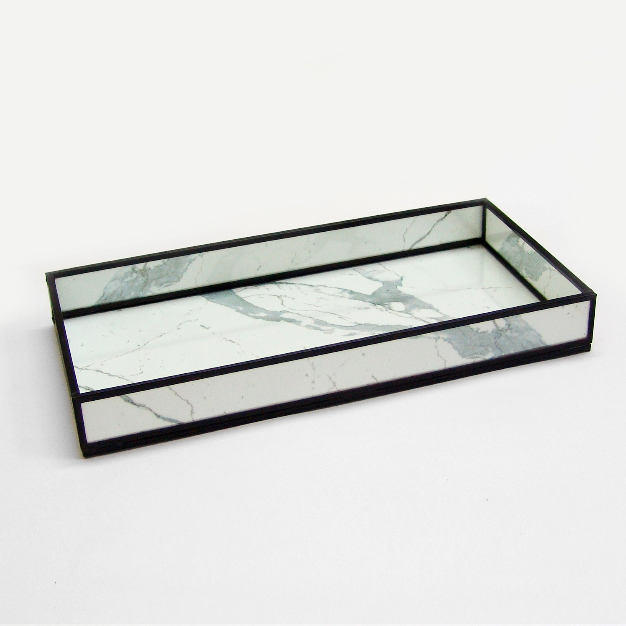 MARBLE PRINT DECORATIVE GLASS TRAY TR-244 - Nusteel