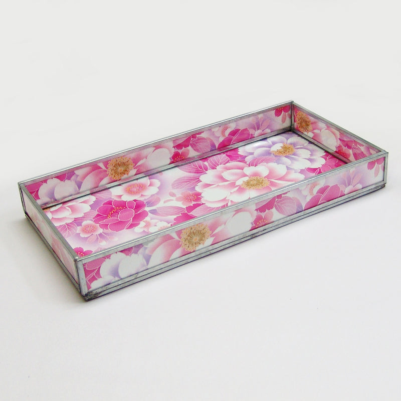PINK FLORAL PRINT DECORATIVE GLASS TRAY TR-245 - Nusteel