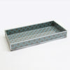 GREY GEOMETRIC PRINT DECORATIVE GLASS TRAY TR-246 - Nusteel