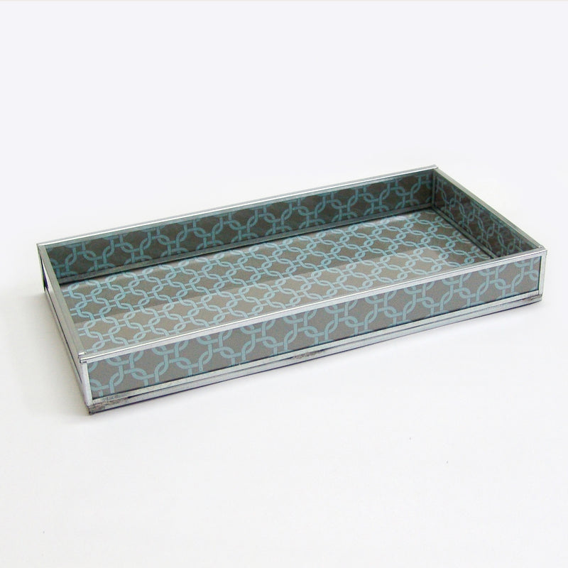 GREY GEOMETRIC PRINT DECORATIVE GLASS TRAY TR-246