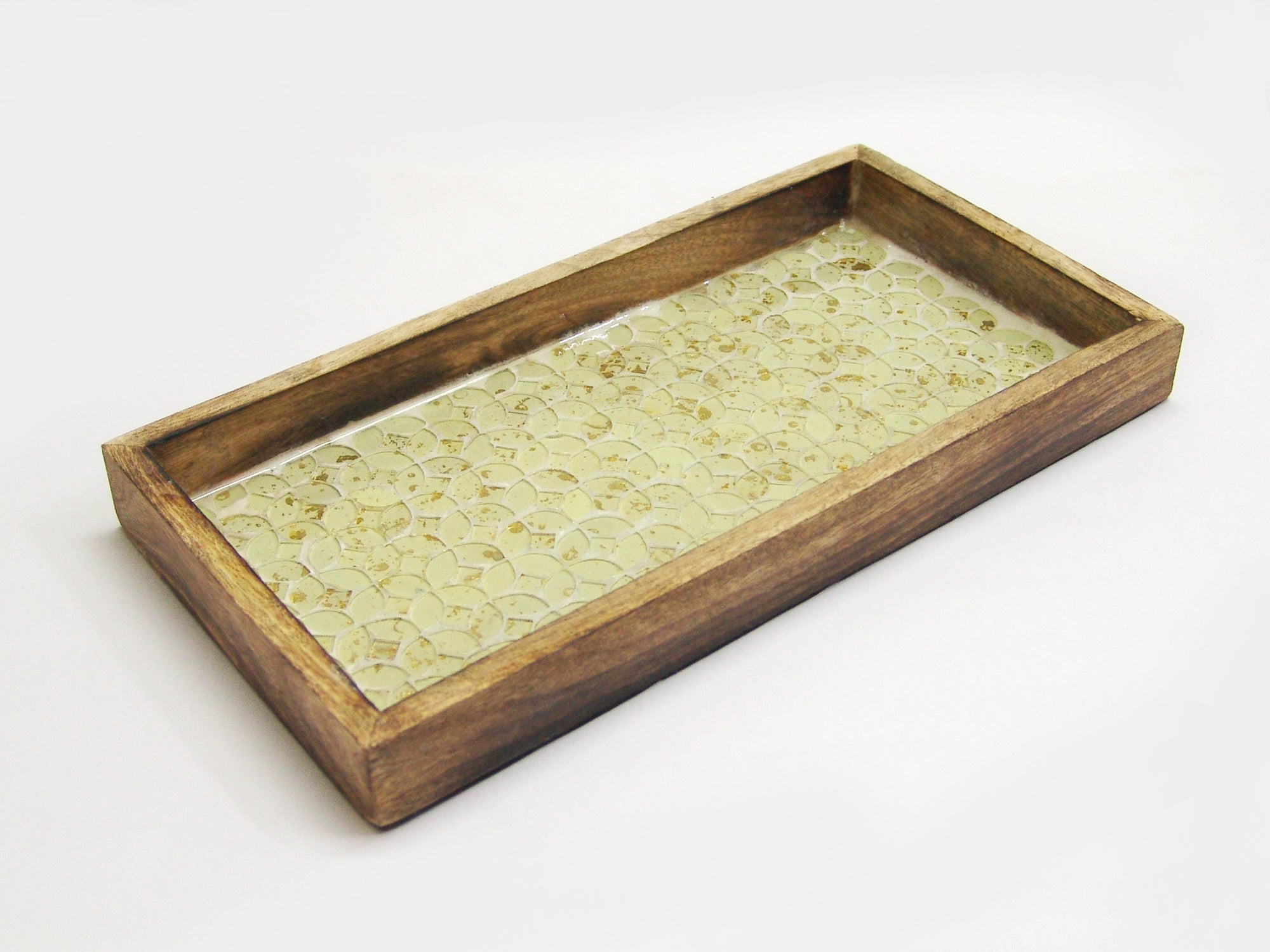 GOLD MOSAIC WOODEN TRAY TR-249 - Nusteel