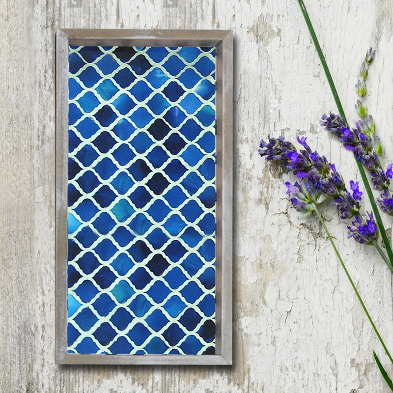 "Blue Resin Wooden Tray 13"" x 6.5"" TR-263"