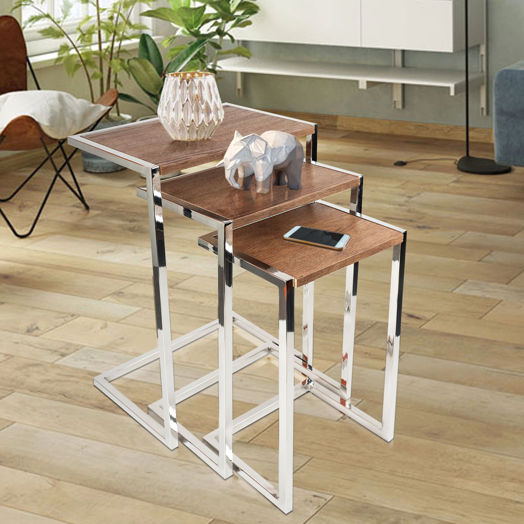 SU-174A - Side Table- Stainless Steel with wood veneer