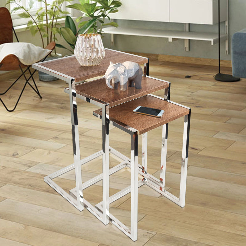 SU-174A - Side Table- Stainless Steel with wood veneer - Nusteel