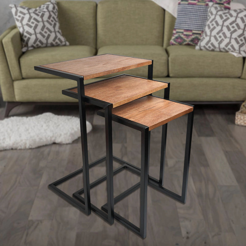 SU-174 - Side Table- Iron Black with wood veneer - Nusteel