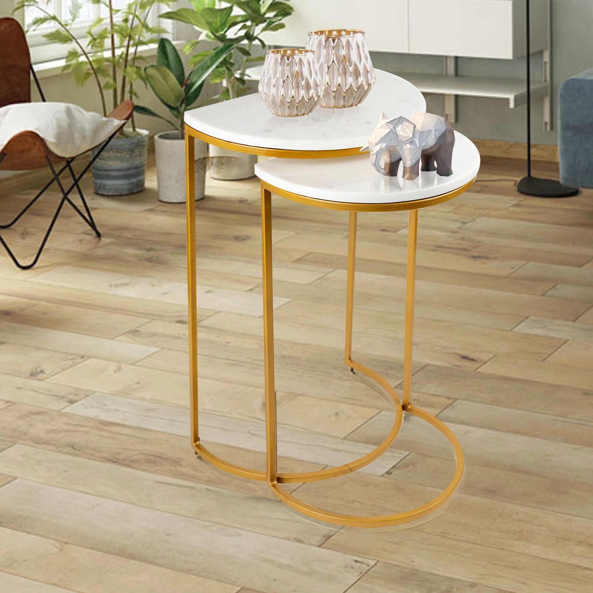 SU-178 WHT- Side Table- Gold p/coat w/ white marble - Nusteel