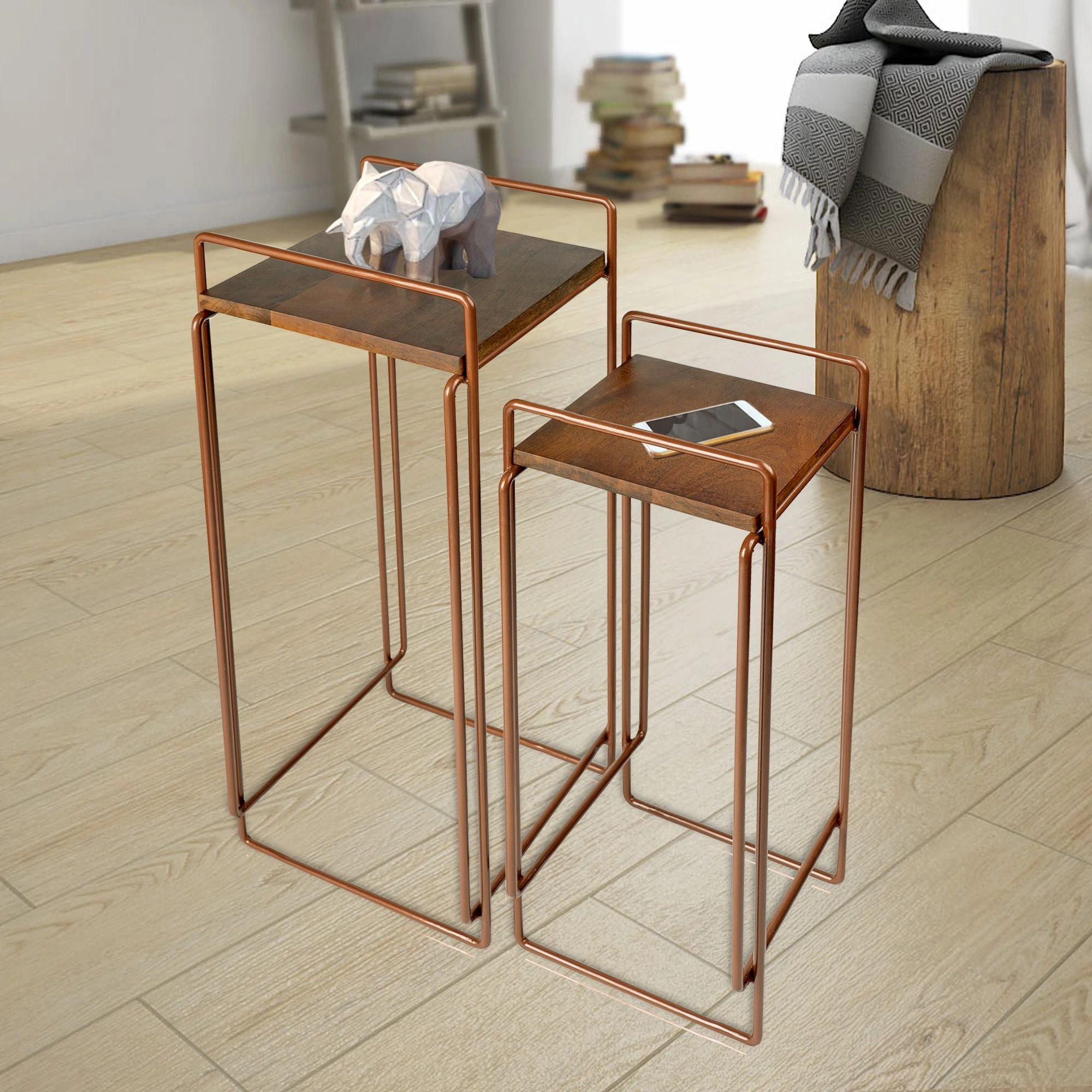 SU-186- Side Table- Copper p/coat w/ Walnut wood - Nusteel