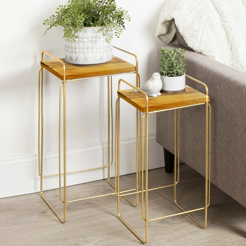 SU-186 A- Side Table- Gold p/coat w/ wood - Nusteel