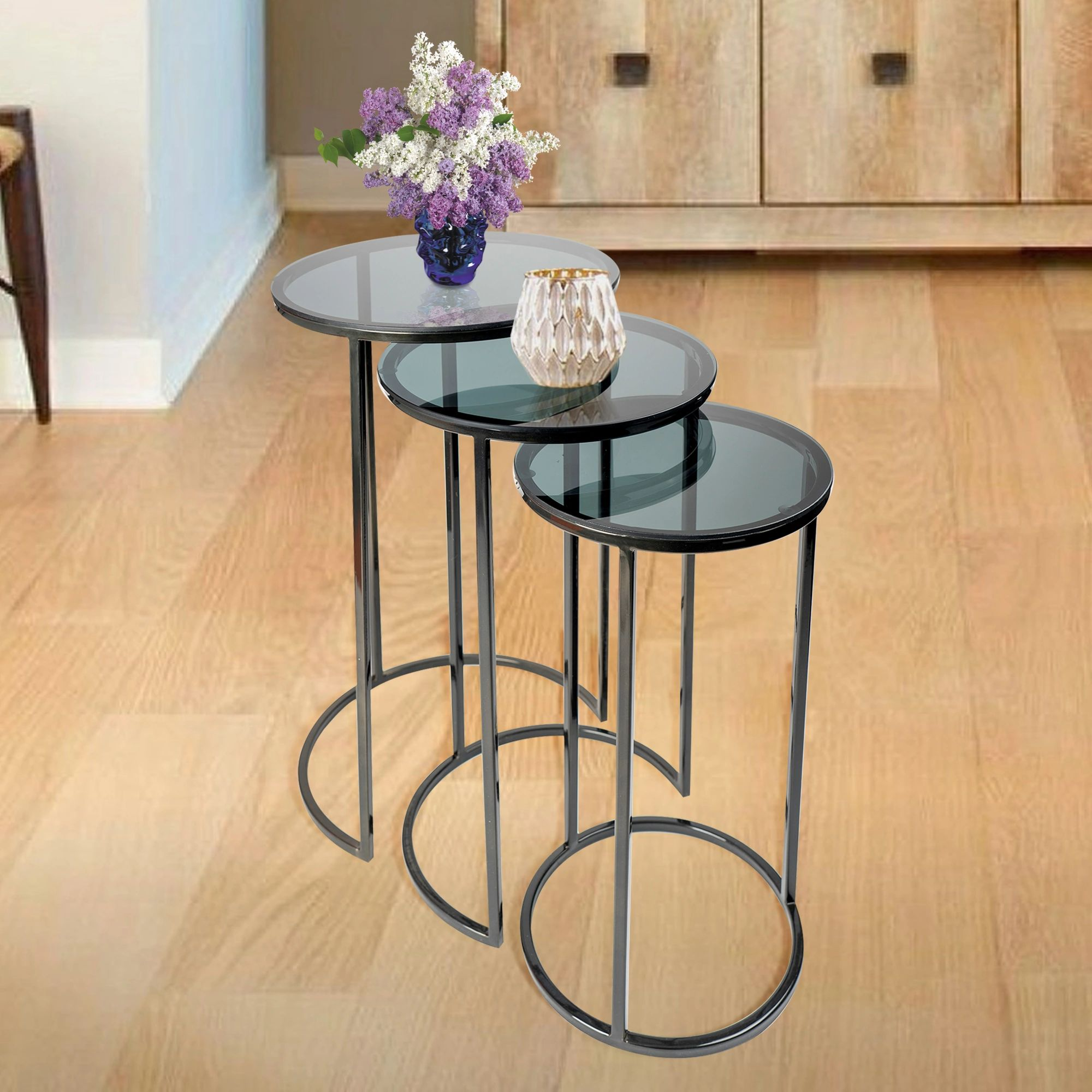 SU-155 - Side Table- s/steel Black nickle with black glass