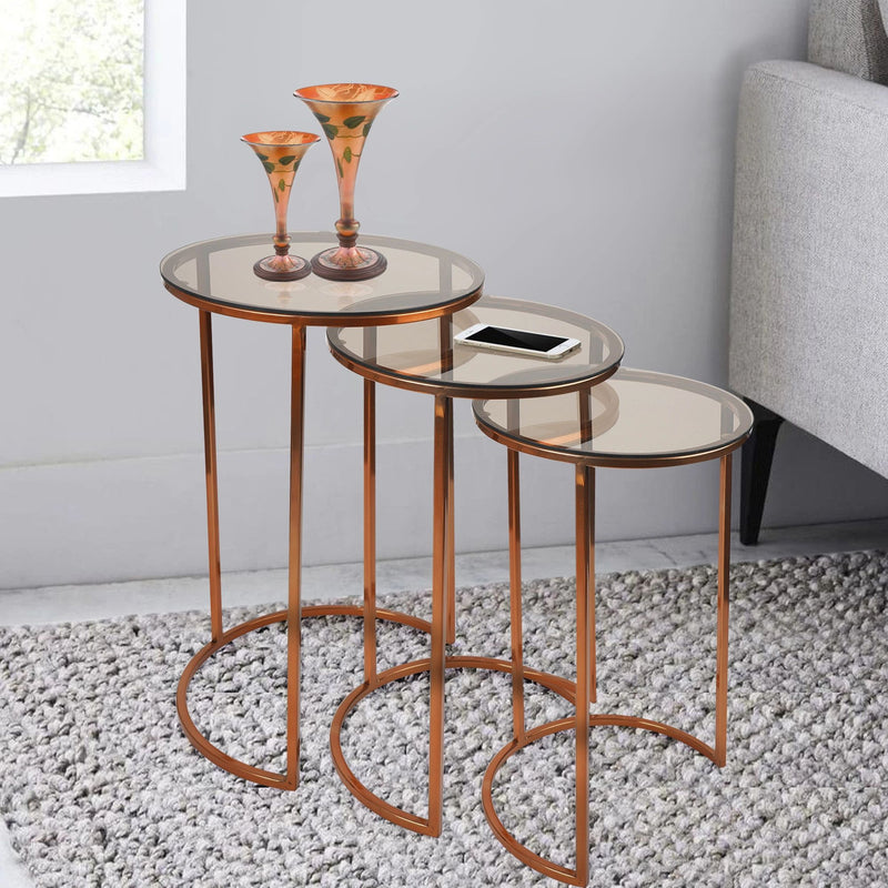 SU-155 A - Side Table- S/steel Copper with brown reflective glass - Nusteel