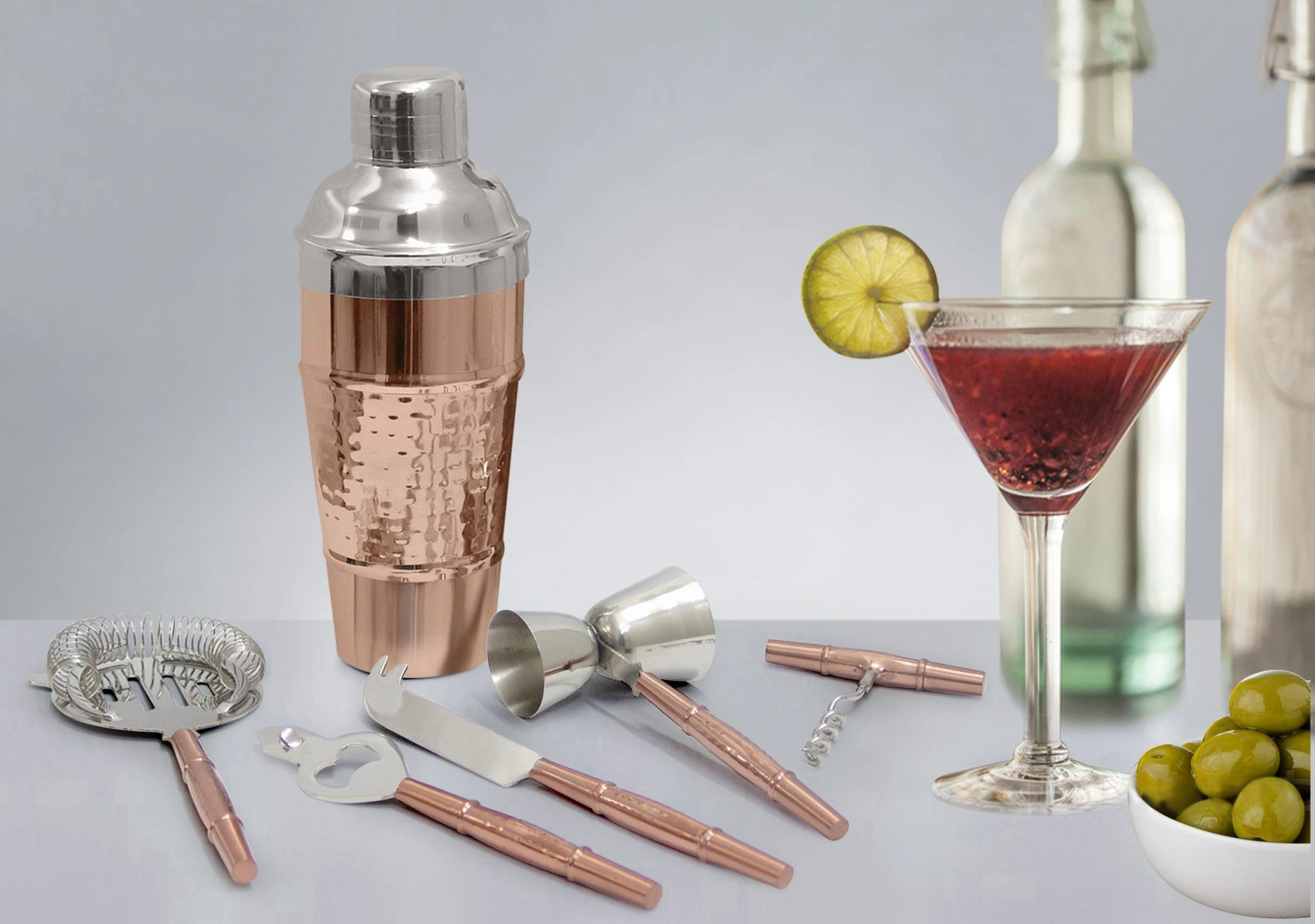 TG-CS-162CH Hammered Cocktail shaker copper finish