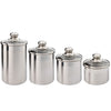 STAINLESS STEEL CANISTER WITH GLASS TOP SET/4. 1 QT, 2QT, 3QT, 4QT - Nusteel