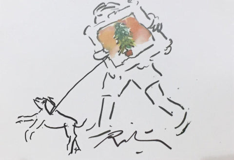 The Man carrying a Picture of a Christmas Tree