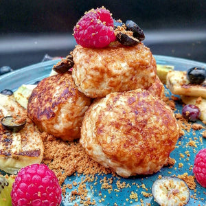 Italian-inspired stuffed nut butter rice pudding balls