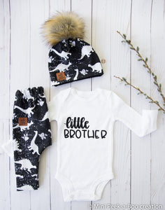 Take home baby outfit Dino black & white