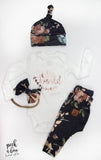 Take home baby outfit Floral on navy