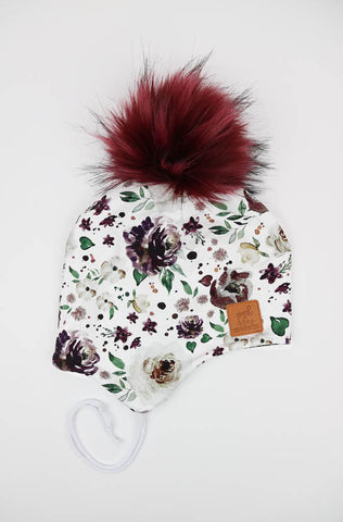 3 Season ear flap Mauve Floral