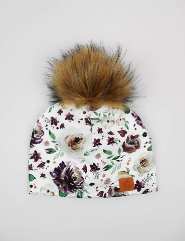 3 Season Toque Mauve floral