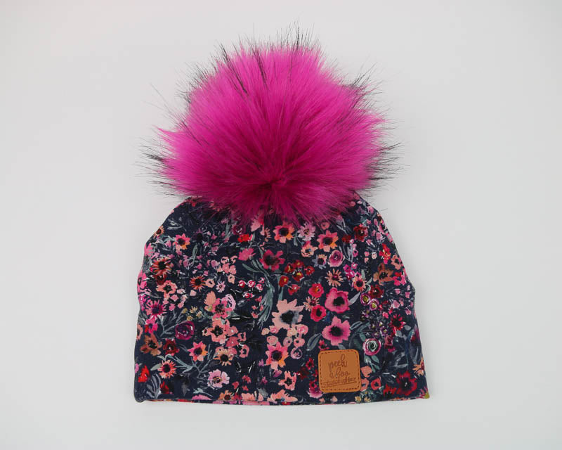 PRE-ORDER - 3 Season Toque Navy Sunflowers