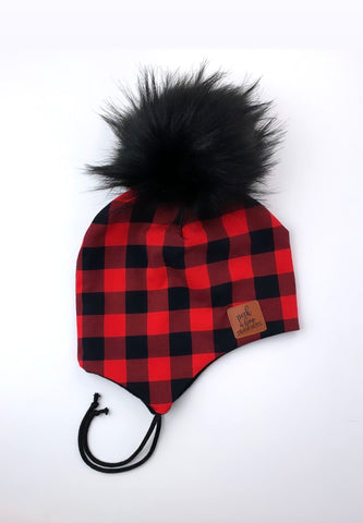 3 season ear flap Red & Black plaid